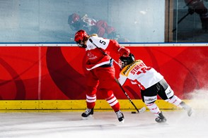Phoebe Staenz from Team Switzerland against Josefine Jakobsen from Team Denmark during the 2017 Women's Final Olympic Group C Qualification Game between Switzerland and Denmark, photographed Thursday, 9th February, 2017 in Arosa, Switzerland. Photo: PPR / Manuel Lopez