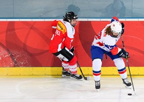 Anja Stiefel from Team Switzerland against Andrea Dalen from Team Norway during the 2017 Women's Final Olympic Group C Qualification Game between Switzerland and Norway photographed Saturday, 11th February, 2017 in Arosa, Switzerland. Photo: PPR / Manuel Lopez