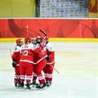 Team Denmark celebrates the first goal during the 2017 Women's Final Olympic Group C Qualification Game between Czech Republic and Denmark photographed Saturday, 11th February, 2017 in Arosa, Switzerland. Photo: PPR / Manuel Lopez