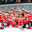 Team Switzerland celebrates after the 2017 Women's Final Olympic Group C Qualification Game between Switzerland and Czech Republic photographed Sunday, 12th February, 2017 in Arosa, Switzerland. Photo: PPR / Manuel Lopez